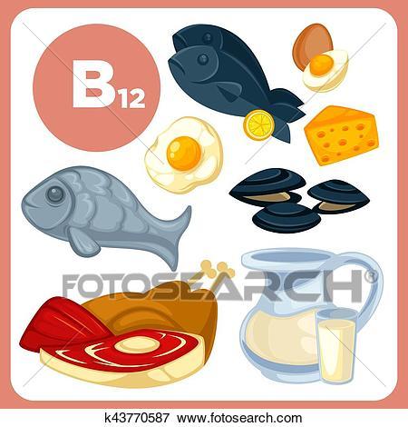 ssiimm icons food with vitamin b12 clip art  k43770587 - برای رفع اضطراب چه ویتامینی خوبه؟
